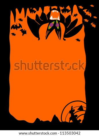 bats postcard - stock vector