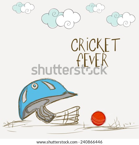 Batsman helmet with red ball for Cricket Fever on clouds decorated grey background. - stock vector