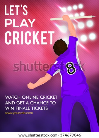 Batsman holding wicket stump on spotlight, Creative Template, Banner or Flyer for Cricket Sports concept. - stock vector