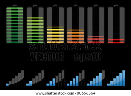 Batteries and network elements - stock vector