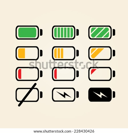 Battery charge Indicator level icons in colors, vector (black) - stock vector