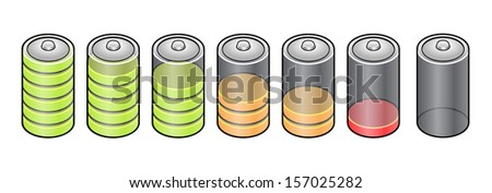 Battery charge indicator showing different levels. - stock vector