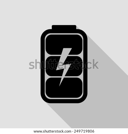 battery charge level indicator icon - black illustration with long shadow - stock vector