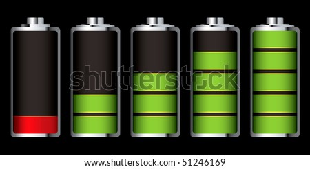 Battery charge showing stages of power running low and full - stock vector