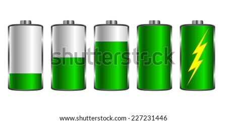 Battery charging. Used for mobile applications, infographics, web design. Vector illustration.
