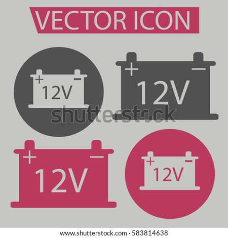 Battery Cars Iconsignsymbol Flat Style Web Stock Vector 583814638