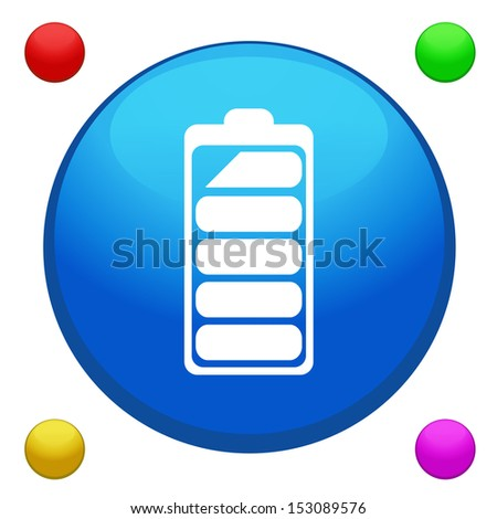 Battery icon button vector with 4 color background included - stock vector