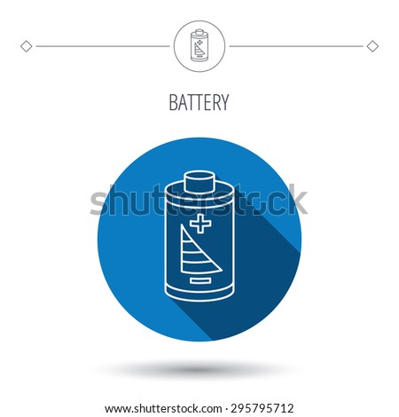 Battery icon. Electrical power sign. Rechargeable energy symbol. Blue flat circle button. Linear icon with shadow. Vector - stock vector