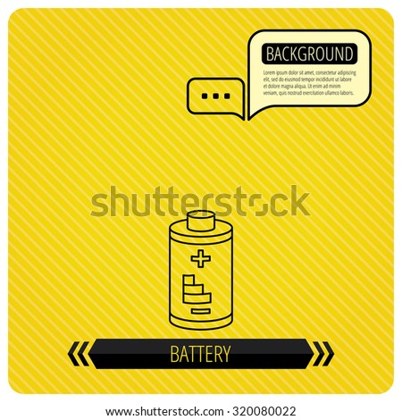 Battery icon. Electrical power sign. Rechargeable energy symbol. Chat speech bubbles. Orange line background. Vector
