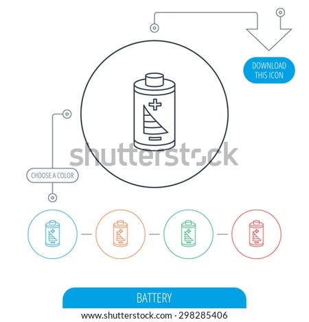 Battery icon. Electrical power sign. Rechargeable energy symbol. Line circle buttons. Download arrow symbol. Vector - stock vector