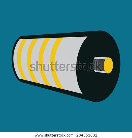 Battery Icon. Half Charged Battery Status. Yellow Level Indicator. Vector Illustration - stock vector