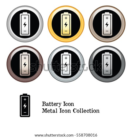 Battery Icon Metal Button Collection