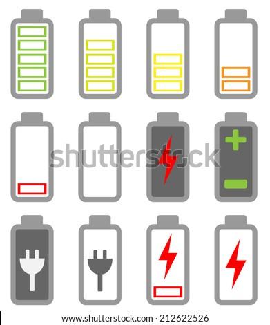 Battery icon set - stock vector