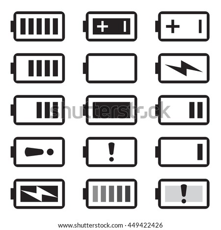 Battery icons set, black isolated on white background, vector illustration. - stock vector