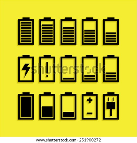 Battery icons set isolated on yellow background - stock vector