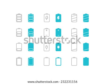 Battery icons set. Trendy thin icons for web and mobile. Line and full versions. Normal and enable state - stock vector