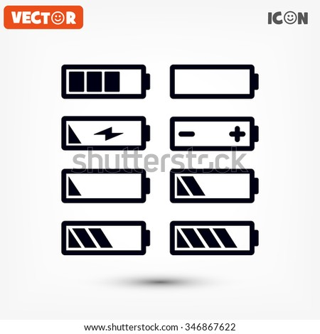 Battery icons set Vector 10 EPS - stock vector