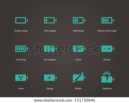 Battery icons. Vector illustration. - stock vector