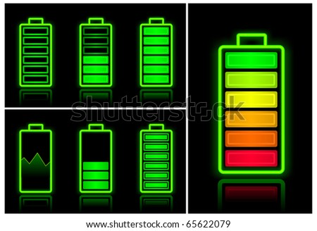 Battery icons with different charge levels on black background, vector illustration - stock vector