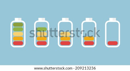 Battery Indicator Icons, flat design, vector EPS10. - stock vector