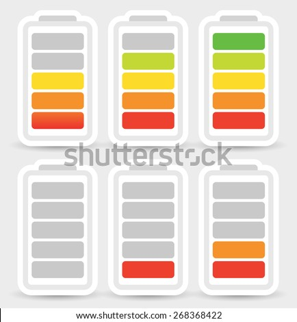 Battery level indicator symbol set from low to high. No energy, charge, recharge battery symbols in sequence. Power consumption, generation, conservation. - stock vector