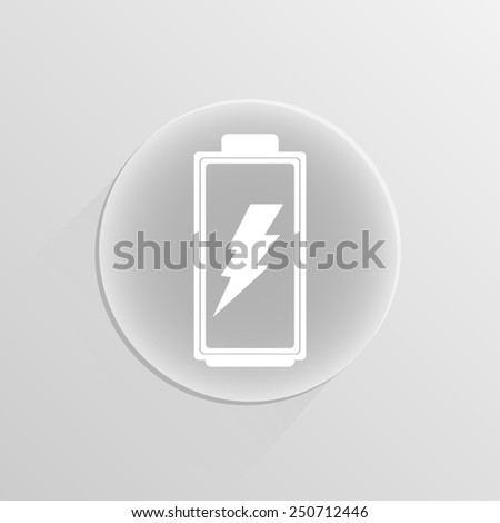 Battery level indicators battery symbols on a white button with shadow  - stock vector