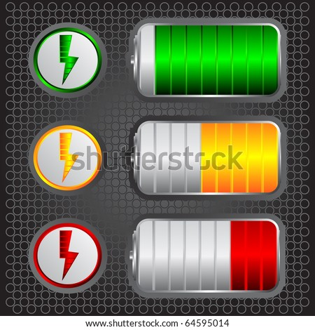 battery levels - stock vector