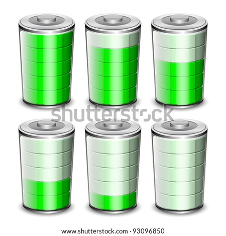 Battery levels icons set. Vector illustration - stock vector