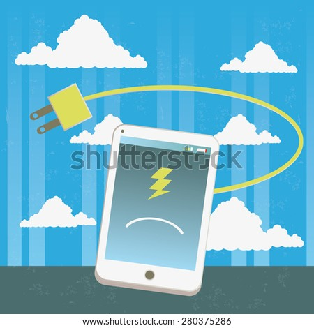 Battery of mobile phone losing energy Illustration with the concept of a sad mobile phone losing energy and battery life. The grunge texture is removable from the background. - stock vector