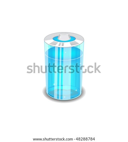 Battery of transparent glass with the contents of the blue liquid - stock vector