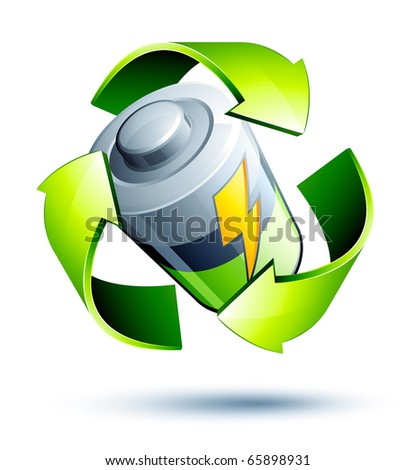 battery recycling - stock vector