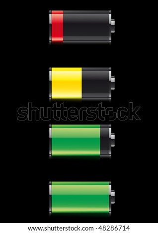 Battery symbol on black background - stock vector