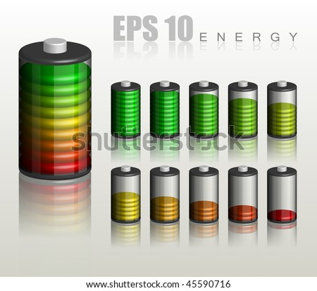 Battery. Ten different status of charge - vector illustration - stock vector