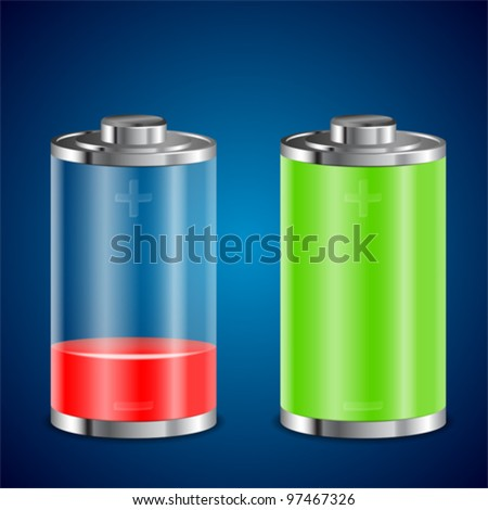 Battery Transparent Icons with Different Levels of Charge, vector illustration