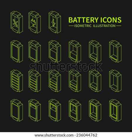 Battery web line icons, symbol, sign and design elements in isometric style. Charge level indicators. Vector illustration. - stock vector