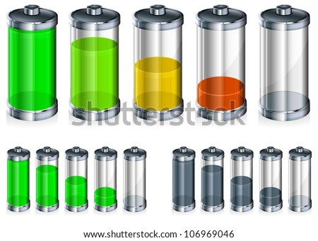 Battery with level indicator in color, energy concept, vector illustration - stock vector