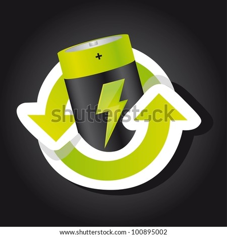 battery with recycle sign over black background. vector - stock vector