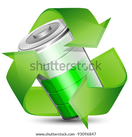 Battery with recycle symbol - renewable energy concept. Vector illustration - stock vector