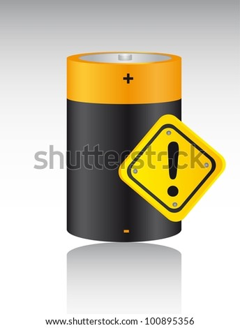 battery  with warning sign with shadow. vector illustration