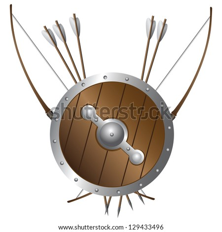 Battle bows and arrows and shield medieval archer. Vector illustration. - stock vector