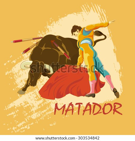 Battle of matador and bull. Illustration for posters, brochures, or ticketing for sporting events - stock vector