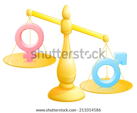 Battle of the sexes concept with male and female symbols being weighed against each other - stock vector