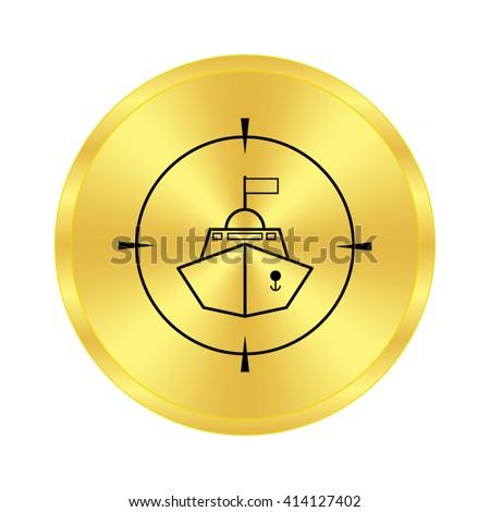 Battle ship - black vector icon;  golden button - stock vector