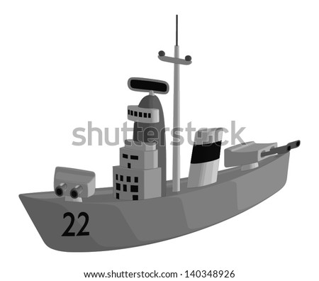 Battle Ship isolated on a white background.