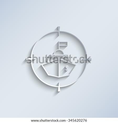 Battle ship - paper vector icon - stock vector