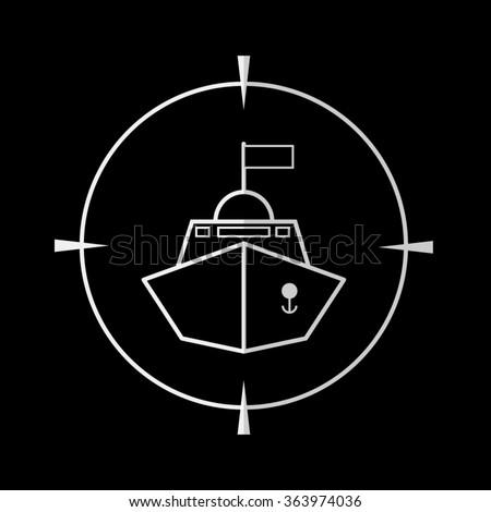Battle ship  - vector icon - stock vector
