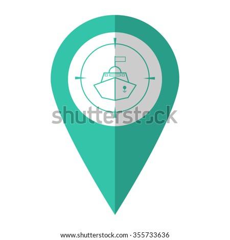 Battle ship - vector icon;  green map pointer - stock vector