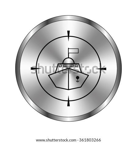 Battle ship - vector icon;  metal button - stock vector