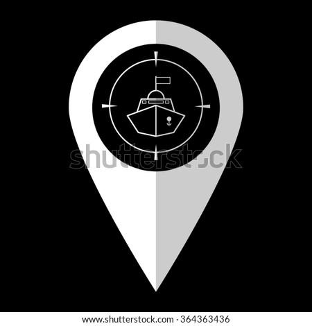 Battle ship - white vector icon;  map pointer - stock vector