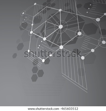 Bauhaus art dimensional composition, perspective grayscale modular vector wallpaper with honeycombs. Retro style pattern, graphic backdrop for use as booklet cover template.